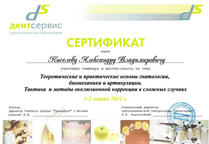 Сертификат Киселев А.В.